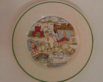 Vintage Collectible Souvenir Plate State of Idaho Home Decor Kitchenware