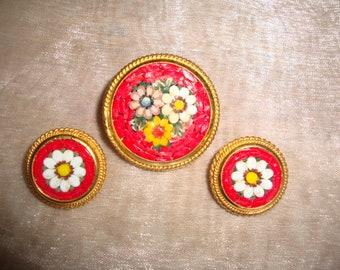 Vintage Micro Mosaic Italian Brooch and Earrings Set