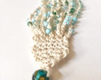 Crochet Beaded Bracelet / Turquoise Beaded Bracelet / Boho Jewelry / Handmade Jewelry / Handmade Bracelet / Crochet Bracelet / Gifts for Her