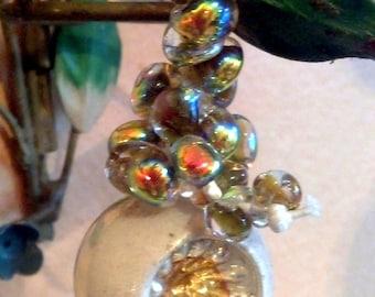 10 Gold Dust Teardrop Handmade Lampwork Beads - 10mm (22037)