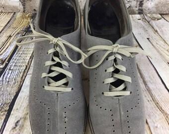 Vintage Grey Suede Florsheim Peep Toe Heels Lace Up 7.5 - 8 Narrow