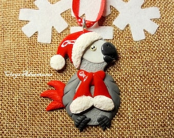 African grey parrot christmas ornament / necklace / magnet, handmade!