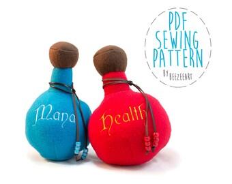 Potion Bottle Plushie Sewing Pattern, PDF Pattern, Digital Download, Plush Toy