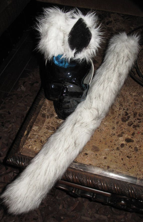 Alaskan Husky white black tips luxury shag faux fur ears tails & sets