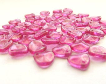 Shimmering Rosy Pink Baby Czech Glass Rose Petals, 8mm x 7mm - 50 pieces