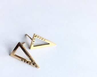 Gold triangle earrings with champagne diamonds