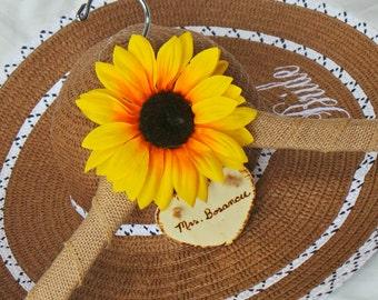 Sunflower Wedding Dress Hanger,  Fall Burlap Dress Hanger, Personalized