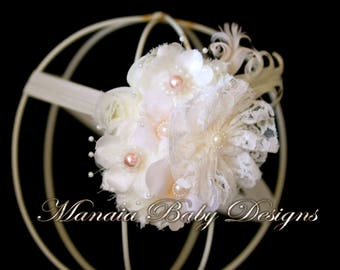 Ivory Vintage Headband with Blush Accents
