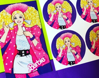 1980s BARBIE and the ROCKERS Stickers and Magnet Set (80s Vintage Doll Design)