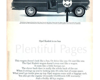1960's Opel Kadett Vintage Ad, 1960's GM, Retro Car Ad, Advertising Art, Buick-Opel, Opel Wagon, Vintage Car Ad, Great for Framing.