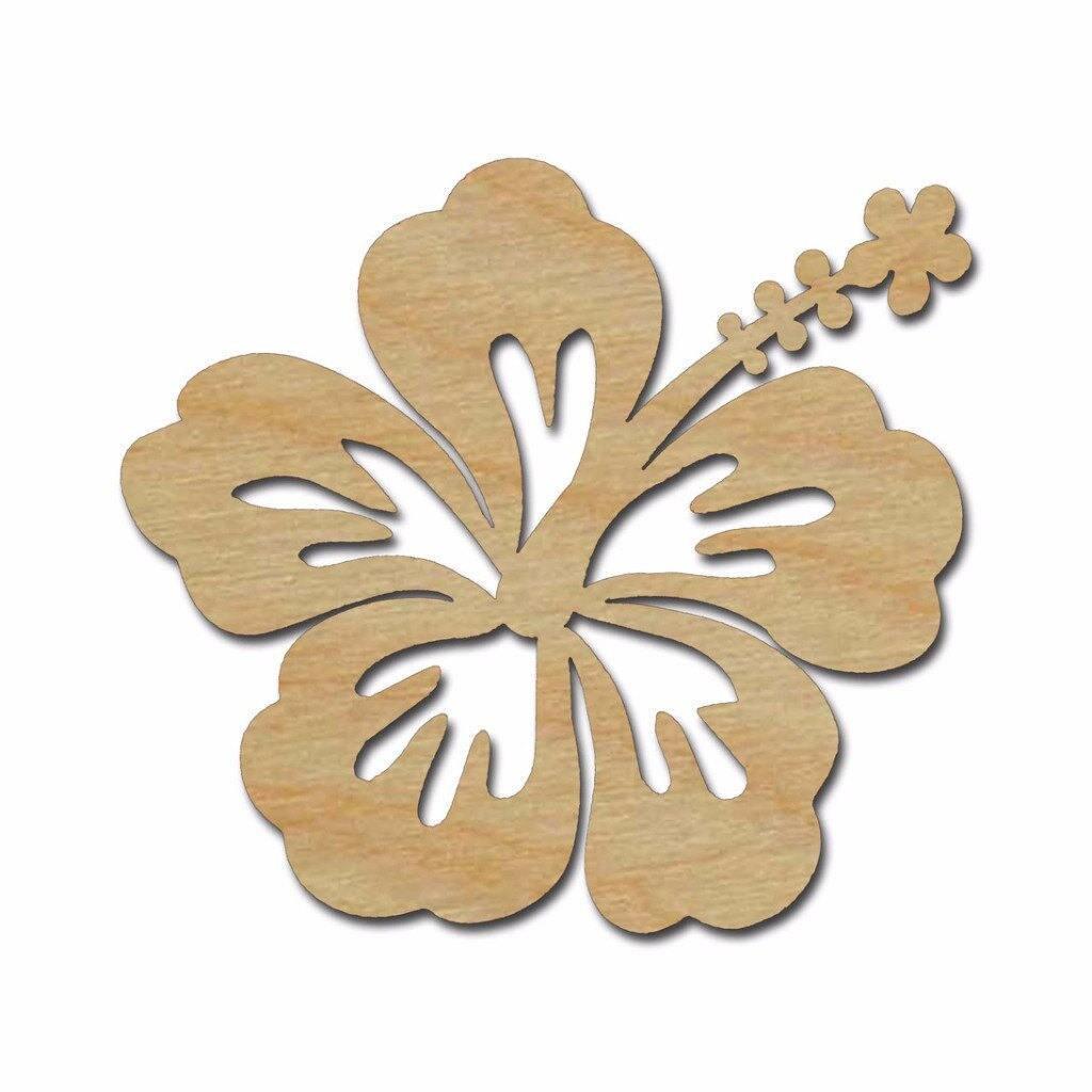Hibiscus Flower Shape - Wood Cutout Wooden Flower Wall Decor - Wall ...
