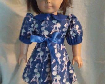 Blue Knee High Dress with Eiffel Tower Print