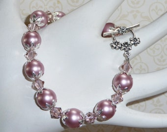 Rose Pink Swarovski Pearls and Crystal Bracelet - B1694