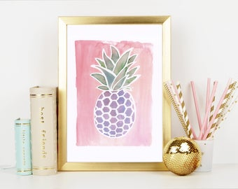 Pineapple Watercolor Art Print with Bright Summer Style Pink Background - Wall Art and Home Decor painting for Office and bedroom
