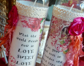 WORLD NEEDS LOVE SWEeT LoVE CaNDLES  GiFT SeT altered collage cards art therapy hope valentine recovery journey quiet time inspirational