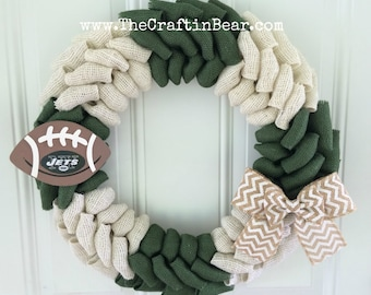 New York Jets burlap wreath w/ wooden football and chevron bow - New York Jets wreath - Jets - New York Jets - J-E-T-S