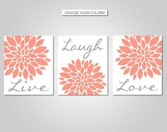 Dahlia Flower Burst Live Laugh Love Wall Art - Live Laugh Love Wall Decor - Coral, Grey - Flower Wall Art - Prints - Canvas - Printable