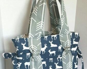 boy deer diaper bag, large arrow diaper bag, navy deer with grey arrow straps and lining. Key pocket, option of removable strap and zipper