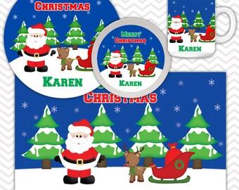 Christmas Santa Sleigh Plate Bowl Mug Set - Personalized Santa Plate Set - Customized Plate, Bowl, Mug - Melamine Plate, Bowl & Set for Kids