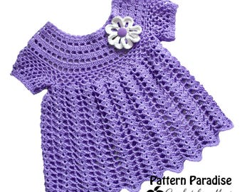Crochet Pattern for Baby Toddler Dress Tunic, Peaches and Cream, PDF 12-097