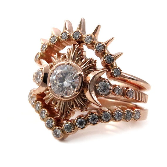 MoonFire Enagement Ring Set - 14k Rose Gold with Diamond or Moissanite Center Stone and Double Diamond Wedding Bands
