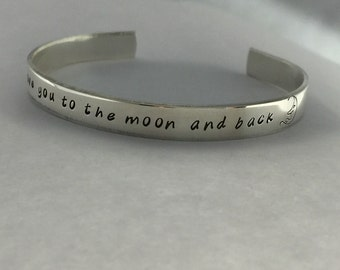 Love You to the Moon Personalized Sterling Silver Cuff Bracelet/Hand Stamped