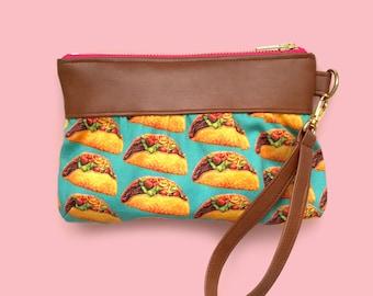 Taco clutch, taco wristlet, wristlet, clutch, diaper bag wristlet, coin purse, pouch, handbag, taco, spoonflower, taco bag, taco apparel