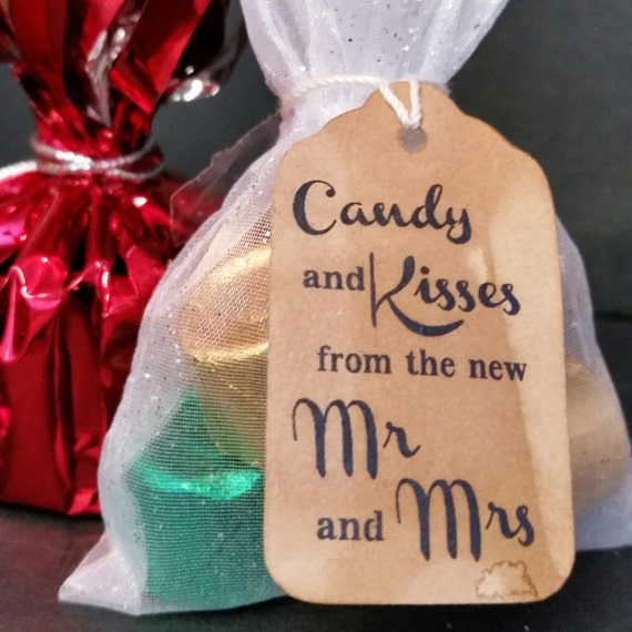 CHOOSE your Quantity SMALL Candy and Kisses from the New Mr and Mrs Wedding Favor tag