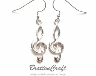 Sterling Silver Treble Clef Earrings -  Treble Clef Earrings - Music Earrings - Clef Earrings - Musical Symbol Earrings - Epsteam