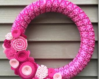 Valentines Day Wreath - Valentine Wreath - Valentine's Day Ribbon - Ribbon Wreath - Pink Wreath - Felt Flower Wreath - Heart Wreath - Vday