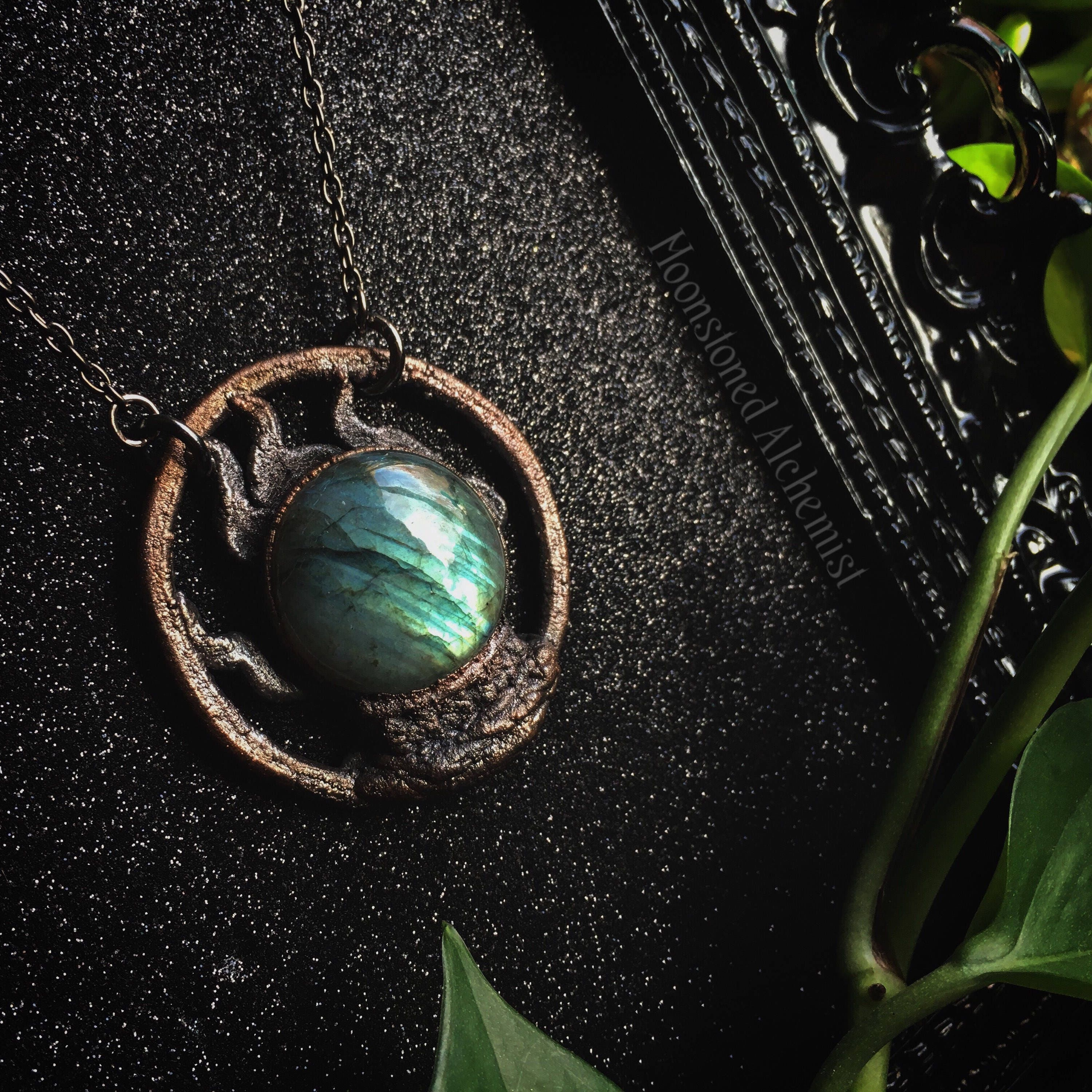 Labradorite crystal ball necklace fortune teller scrying necklace labradorite crystal ball necklace fortune teller scrying necklace dark copper and labradorite crystal necklace aloadofball Image collections