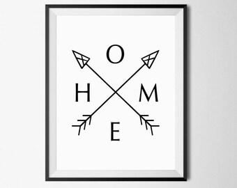 Home Arrow Print, Home Print, Home Arrow Wall Art, Arrow Home Print, Arrow Wall Art, Arrow Wall Print, Home Arrow Poster, Tribal Arrow Print