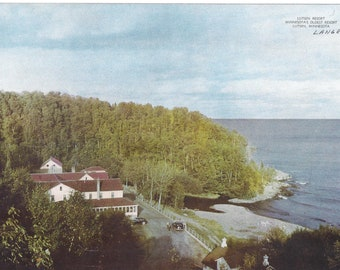 1940s GIANT Postcard of Lutsen Resort Hotel in Minnesota on Lake Superior, Unposted, 10 x 7 Inches, Suitable for Framing, Vintage Souvenir
