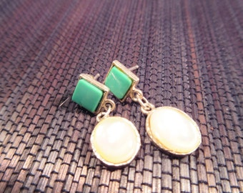 Tribal Sterling Silver Turquoise Mother of Pearl Earrings - DD