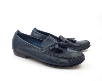 Cole Haan Loafers Blue Vintage 1990s Leather Shoes Women's size 7 B