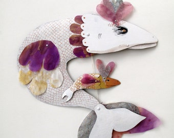 SALE White Fish with Baby / makeforgood / Hand Painted Numbered Articulated Illustration