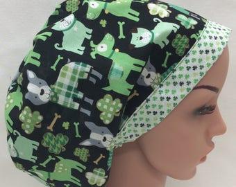 St. Patty's Day Surgical Scrub Cap, Chemo Cap, Nurse Hat, Scrub Hat, European Bouffant