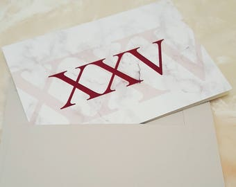 Roman Numeral 25 Birthday Card