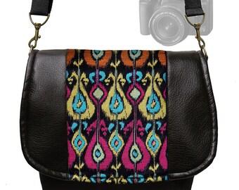 CLEARANCE DSLR Camera Bag Purse Slr  Vegan Leather Camera Bag Black Ikat Tapestry  Zipper Padded Deluxe Model fuschia orange MTO
