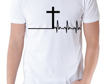 Men\'s christian tshirt with cross and heartbeat design