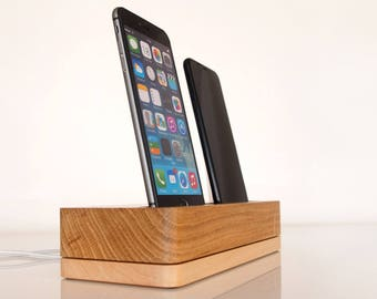 PRE-ORDER iPhone wooden dual docking station, iPhone 5, iPhone 6, iPhone 7 dock, iPhone 8 dock, iPhone X charging station, handmade quality