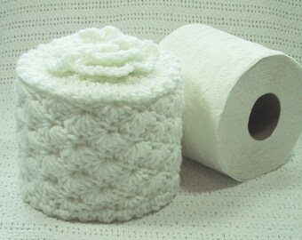 Toilet Paper Cozy w- Flower on Top - White - TP Cover - Cover Your Spare - Hand Crocheted - Acrylic Yarn - Bed & Breakfast Decor