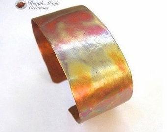 Rustic Copper Cuff, Flame Colored Metal Bracelet, Unisex Jewelry for Women & Men, Antiqued Patina Fire Oxidized Copper, 1 inch Wide Cuff