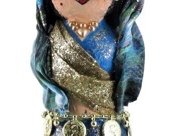 Harsha Indian Kokeshi/paper mache sculpture/home decoration/photo holder/art doll/OOAK doll/peg doll/handmade/gift women