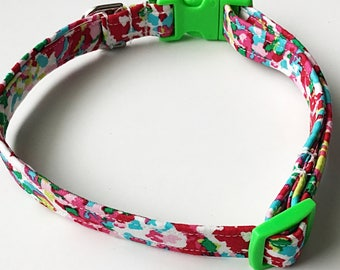Pink & Bright Green Spring or Easter Girl Dog and Cat Collar