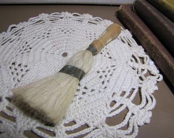 Vintage Vanity Brush - Natural Bristle - Worn Painted Wooden Handle