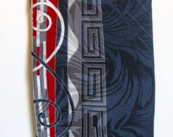 1980s Necktie Halston Mens Greek Key Silk Black Deep Red and Gray