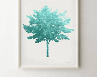 Teal blue tree Turquoise art print PRINTABLE 16x20 print for the Home office decor, Teal blue decor, Teal wall decor art, Turquoise wall art
