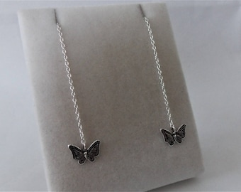 Sterling Silver Butterfly Threader Earrings.