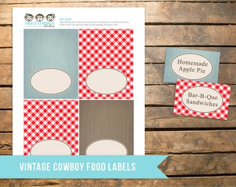 Vintage Cowboy Birthday Tent Cards. Instant Download!